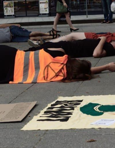 AktivistInnen liegen am Boden während eines Die-Ins am Volksgarten